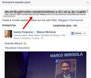codice html facebook
